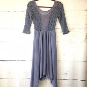 Free People Asymmetrical Midi Dress Crochet Top